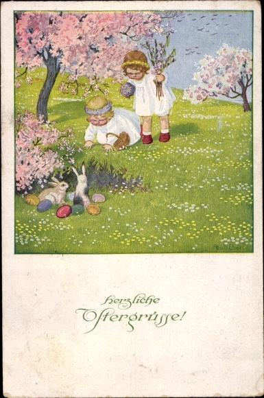 Künstler Litho Ebner, Pauli, Glückwunsch Ostern, Mädchen suchen Ostereier, Hasen, Munk