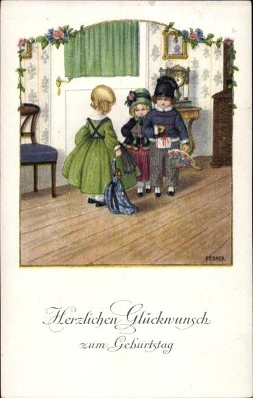 Künstler Litho Ebner, Pauli, Glückwunsch Geburtstag, Kinder, Blumenstrauß, Puppe, Munk 1202