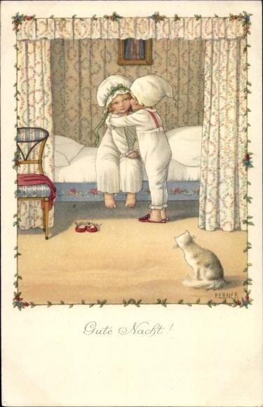 Künstler Litho Ebner, Pauli, Gute Nacht, Junge, Mädchen, Bett, Katze, Munk 1158