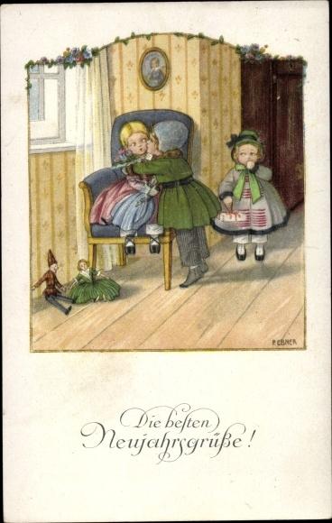 Künstler Litho Ebner, Pauli, Glückwunsch Neujahr, Junge,  Mädchen, Kuss, Puppen, Munk 1202