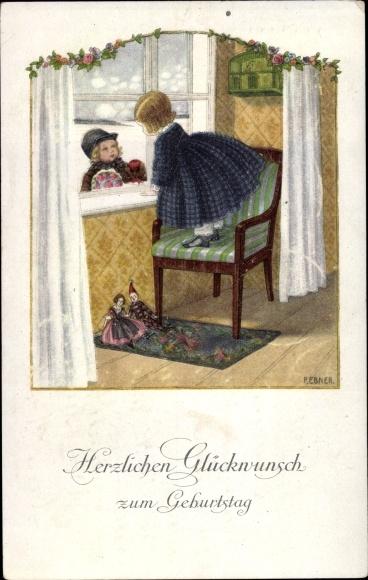 Künstler Litho Ebner, Pauli, Glückwunsch Geburtstag, Junge, Mädchen, Blumen, Puppe, Vogelkäfig, Munk