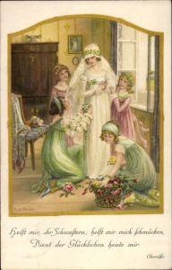 Künstler Litho Ebner, Pauli, Braut wird mit Blumen geschmückt, Hochzeitskleid