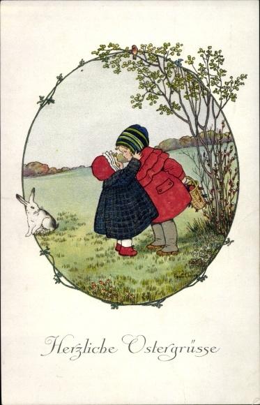 Künstler Litho Ebner, Pauli, Glückwunsch Ostern, Kinder, Ostereier, Hase, Munk 1250