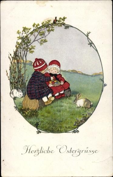 Künstler Litho Ebner, Pauli, Glückwunsch Ostern, Kinder, Ostereier, Osterhasen, Munk 1250