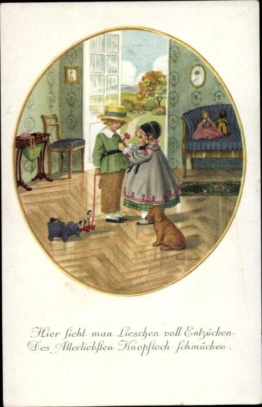 Künstler Litho Ebner, Pauli, Mädchen steckt Junge eine Blume ins Knopfloch, Puppen, Munk 1228