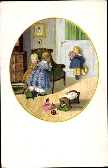 Künstler Litho Ebner, Pauli, Mädchen verstecken sich vor einem Jungen, Munk 1228