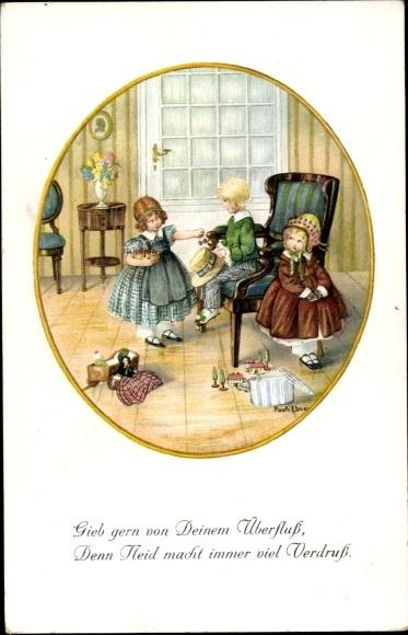 Künstler Litho Ebner, Pauli, Junge, Mädchen, Spielzeuge, Munk 1228