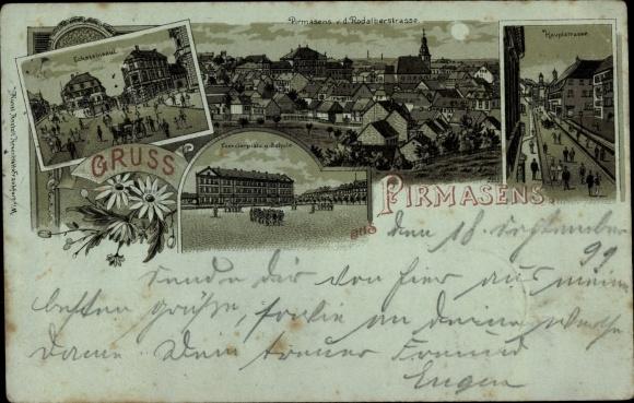 Mondschein Litho Pirmasens am Pfälzerwald, Ecksteinsaul, Schule, Exerzierplatz