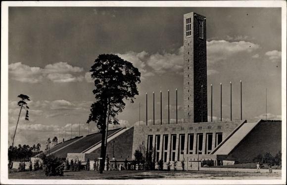 Ak Berlin Charlottenburg Westend, Reichssportfeld, Glockenturm, Eingang West Tor