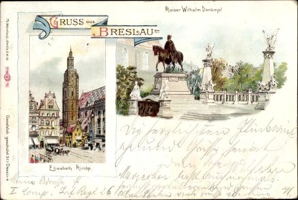 Litho Wrocław Breslau Schlesien, Elisabethkirche, Kaiser Wilhelm Denkmal