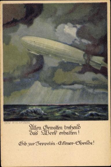 Künstler Ak Amtsberg, Otto, Zeppelin über dem Meer, Wolken, Allen Gewalten trotzend