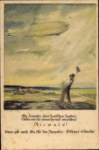 Künstler Ak Amtsberg, Otto, Ein Zeppelin über deutschen Landen, winkender Mann