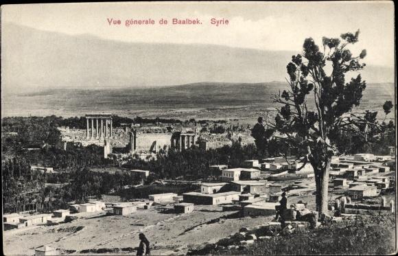 Ak Baalbek Libanon, Vue générale, Totalansicht der Tempelruinen