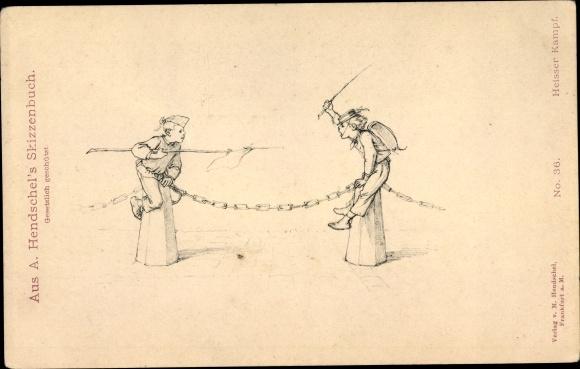 Künstler Ak Hendschel, Albert, Skizzenbuch No. 36, Heißer Kampf