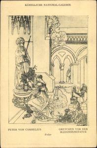 Künstler Ak Cornelius, Peter von, Gretchen vor der Madonnenstatue, Federzeichnung