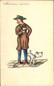 Künstler Ak Maliardissimo impenitente, Hund pinkelt Mann ans Bein