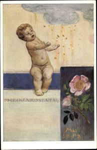 Künstler Ak Kaulbach, Friedrich, August, Heckenrosentag Mai 1912, Kleinkind, Geldregen
