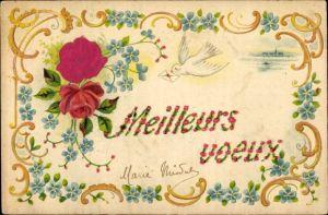 Material Präge Litho Meilleurs voeux, Taube, Rosenblüten, Vergissmeinnichtblüten