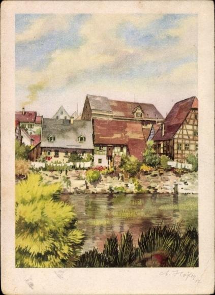 Künstler Ak Höfer, A., Besigheim im Kreis Ludwigsburg, Partie vom Ort mit Fluss