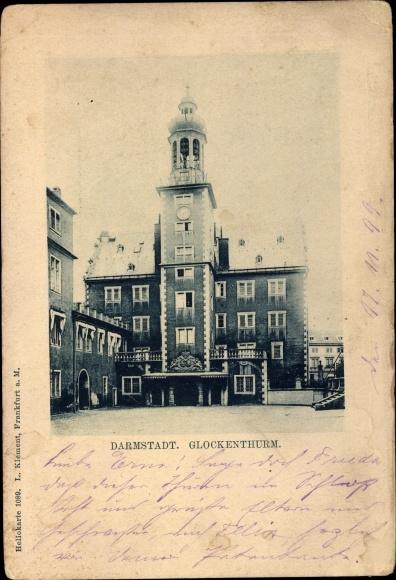 Ak Darmstadt in Hessen, Panorama vom Glockenturm