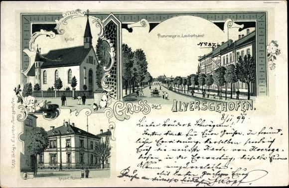 Litho Ilversgehofen Erfurt in Thüringen, Kirche, Poststraße mit Landratsamt, Postamt