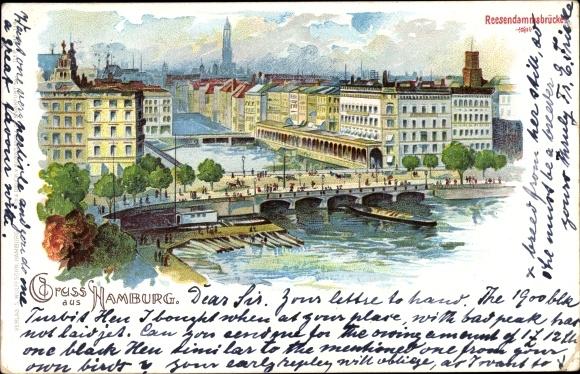 Litho Hamburg, Reesendammsbrücke, Vogelschau