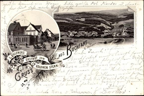 Vorläufer Litho Buchfart Thüringen, Gasthof zum Burgschloss, Inh. B. Zorn