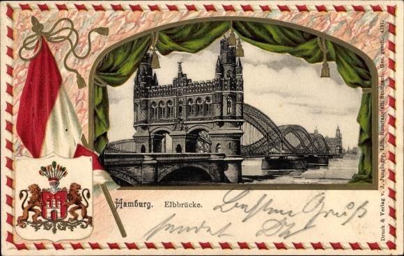 Präge Wappen Ak Hamburg, Blick auf die Elbbrücke, Fahne