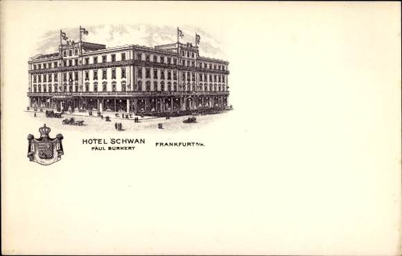 Wappen Ak Frankfurt am Main, Hotel Schwan, Bes. Paul Burkert