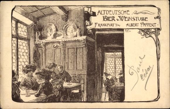 Künstler Ak Frankfurt am Main, Altdeutsche Bier- und Weinstube, Bes. Albert Pappert