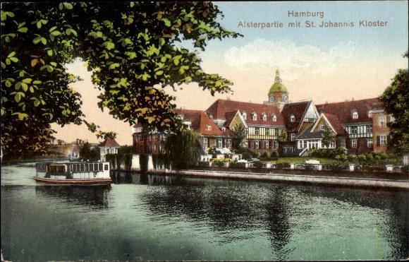 Ak Hamburg Nord Eppendorf, Alsterpartie mit Blick zum St. Johanniskloster, Fähre