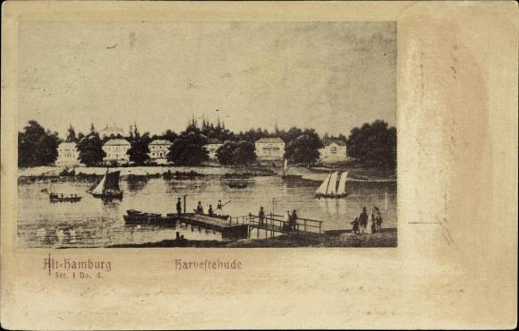 Ak Hamburg Eimsbüttel Harvestehude, Teilansicht um 1850, Partie am Steg