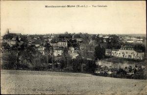 Ak Montfaucon sur Moine Maine et Loire, vue générale de la ville, pris du champ