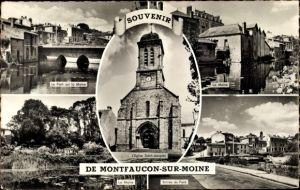 Ak Montfaucon sur Moine Maine et Loire, Église Saint Jacques, Pont sur la Moine