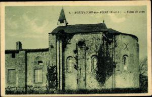 Ak Montfaucon sur Moine Maine et Loire, Eglise St Jean, vue de côté