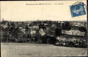Ak Montfaucon sur Moine Maine et Loire, vue générale de la ville, pris de champ