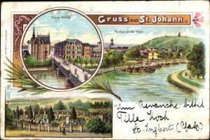 Litho St. Johann Saarbrücken im Saarland, Neue Brücke, Saarpartie, Ehrenthal