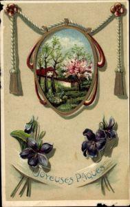 Präge Passepartout Ak Glückwunsch Ostern, Baumblüte, Veilchen