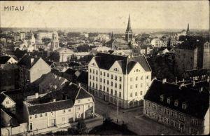 Ak Jelgava Mitau Lettland, Blick über die Dächer der Stadt, Kirche