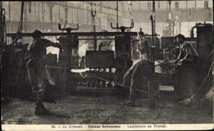 Ak Le Creusot Saône et Loire, Usines Schneider, Lamineurs au Travail, Arbeiter