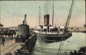 Ak Jersey Kanalinseln, Steamer, Leaving Jersey, HMS Roebuck, Great Western Railway