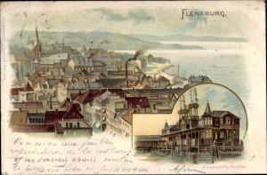 Litho Flensburg in Schleswig Holstein, Stadtübersicht, Dampfschiffs-Pavillon