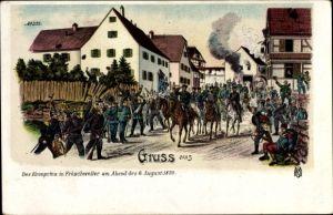 Litho Frœschwiller Fröschweiler Elsass Bas Rhin, Kronprinz Friedrich Wilhelm von Preußen, 6.8.1870
