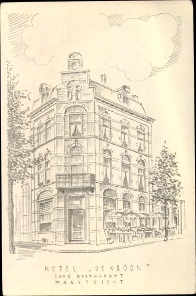 Künstler Ak Maastricht Limburg Niederlande, Hotel de Kroon, Café Restaurant