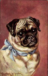 Künstler Ak Donadini, Portrait von einem Mops, Hundeportrait, Falten