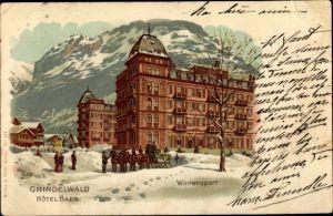 Künstler Litho Grindelwald Kt. Bern Schweiz, Hotel Baer, Kutsche, Schneelandschaft