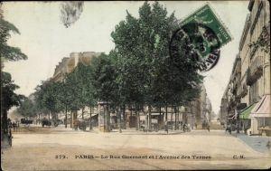Ak Paris XVII., La Rue Guersant et l'Avenue des Ternes