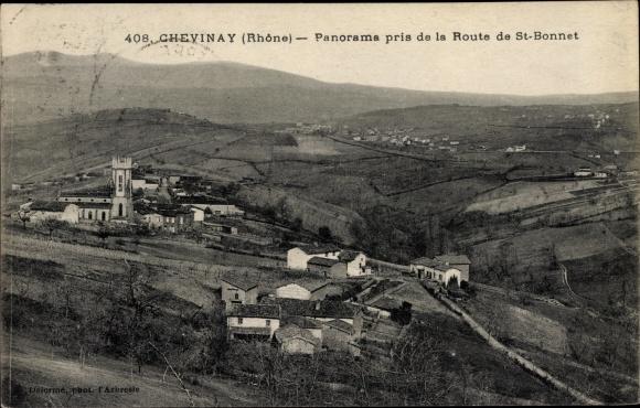 Ak Chevinay Rhône, Panorama pris de la Route de St Bonnet, villages