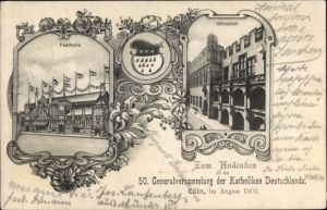 Wappen Ak Köln am Rhein, Festhalle, Gürzenich, 50. Generalversammlung der Katholiken Deutschlands