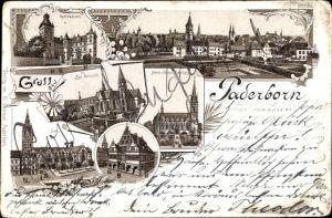 Litho Paderborn in Nordrhein Westfalen, Herz Jesu Kirche, Rathaus, Gymnasium, Dom